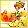 велосипед, осень, девочка