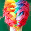 Kiwi Crocus: Hair || Rainbow French braid.
