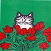 cat in tulips