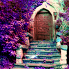 Purple, Flowers, Secret Garden, Door, Steps
