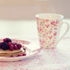 cup and pancakes