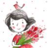 spring, flower, girl, bird