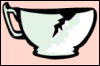 Tea Cup Cracked Melon Green Mint Pink In