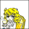 Oscar drinks tea at you