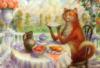 кот пьет чай