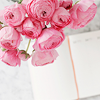pink flowers & a book