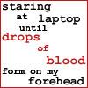 laptop, blood, writer's block