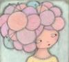 девочка с причекой клубками