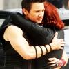 Hawkeye and Black Widow huggin