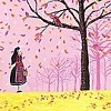 casey: autumn girl pink sky