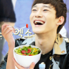 Jongdae laughs with salad