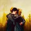 Ron, Harry and Hermione hug