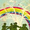 circle rainbow holding hands