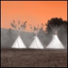 red sky and tee pee