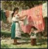 мама ребенок стирка деревня