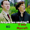 Sherlock and Mycroft busted smoking