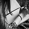 girl writing b&w
