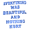 everything was beautiful nothing hurt