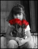 girl, flowers, red