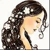 шатенка с цветами в волосах