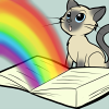 Book with cat: rainbow