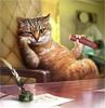 кот за столом курит сосику