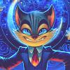 мультяшный кот с улыбкой, злорадство