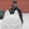На масленице со снежным котом (рожки)