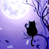 cat--black with lavender background