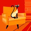 cat--orange background