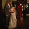 wedding: stair kiss