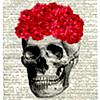 flowers, skull