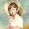 hat, painting, george romney