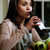 Liv and wine bottle