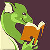 A stylized green dragon person reading a