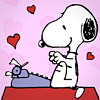 snoopy typewriter hearts