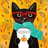 autumn black cat pumpkin latte
