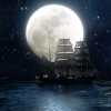 moon and ship