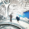 Bridge in winter ukiyo-e