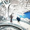 Bridge in winter ukiyo-e