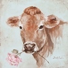 Prim: Cow with flower