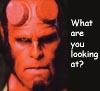 Hellboy looking