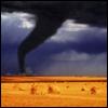 landscape || tornado and hay bales