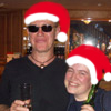 JJ from the Oysterband and me with badly drawn Santa Hats