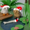 Santahatted Owls and fish