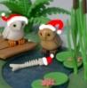 Santahatted Owls and fish