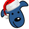 little blue dog: santa