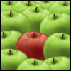 one apple out of the crowd