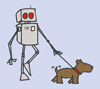 robot vs. dog walkies