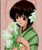 Saki with lilies